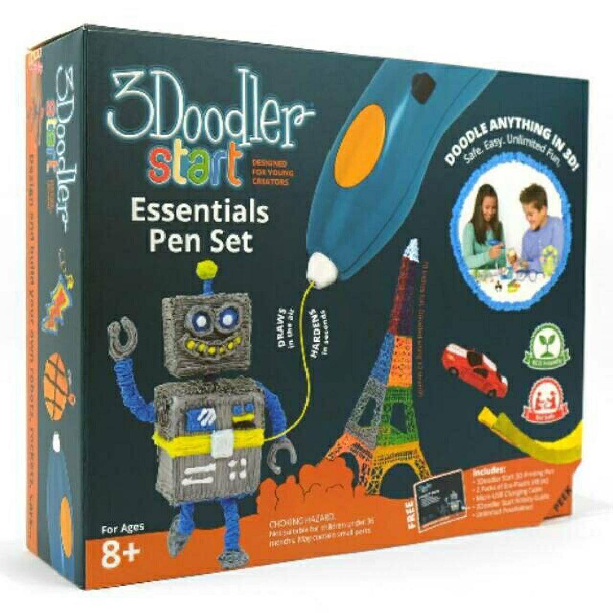 Teddies Sada start Magické pero 13cm 3DOODLER s náplněmi USB pro dobíjení v krabici