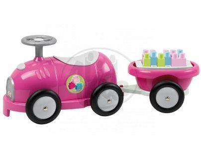 Abrick 7749 Maxi Odrážedlo růžové s vozíkem a kostkami