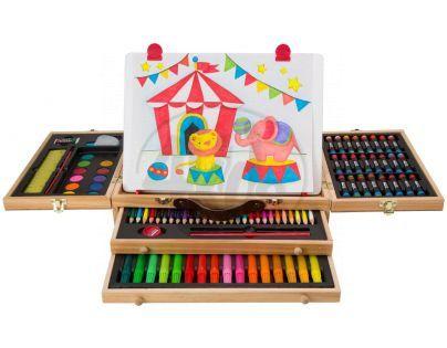 Alex Kufřík s pastelkami a barvami s tabulkou 34x25cm
