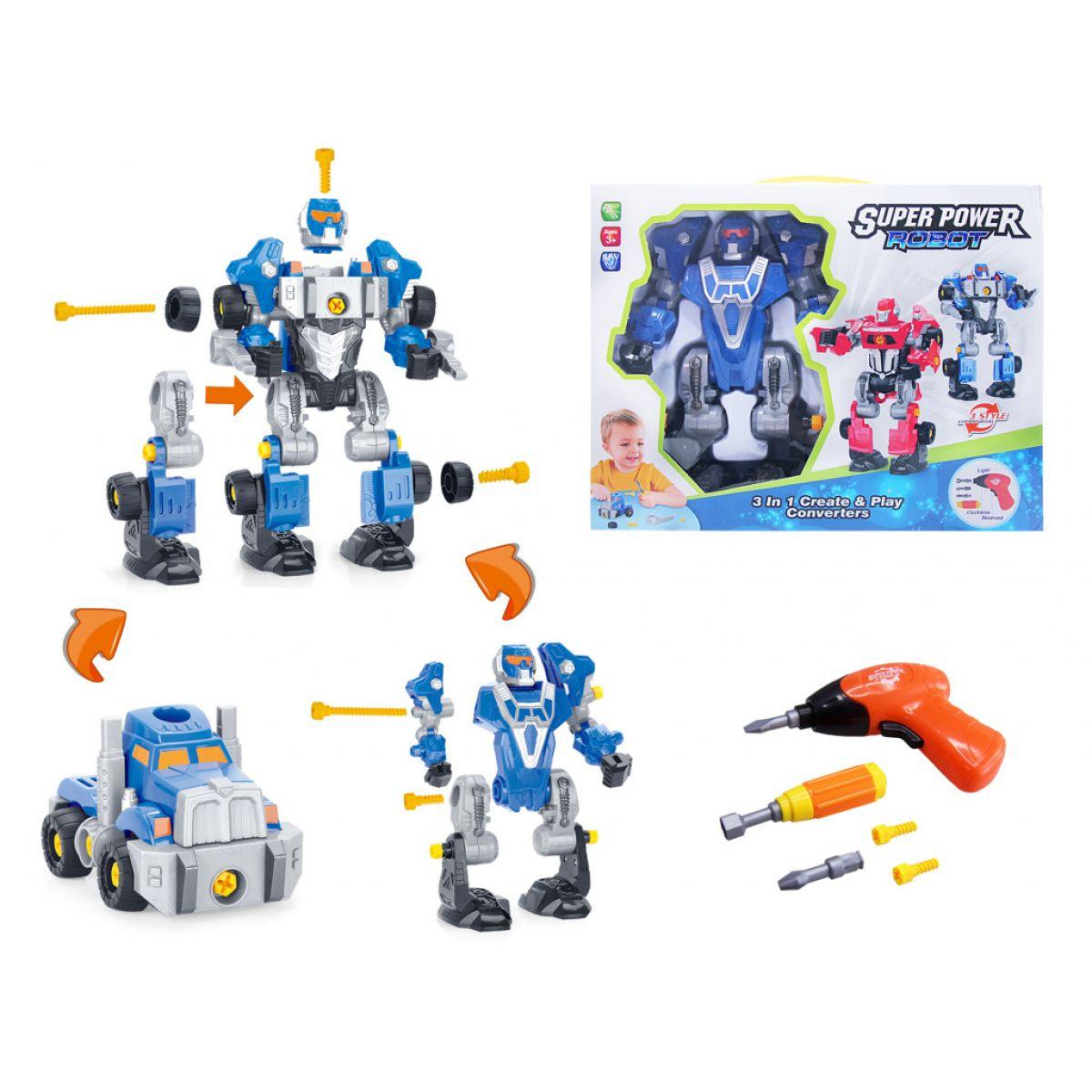 Alltoys Šroubovací robot s vrtačkou se světlem Modrý