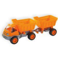 Mochtoys Auto Activ s přívěsem na gumových kolech - Oranžová