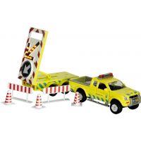 Kids Globe Auto s přívěsem práce na silnici 27cm na zpětné natažení