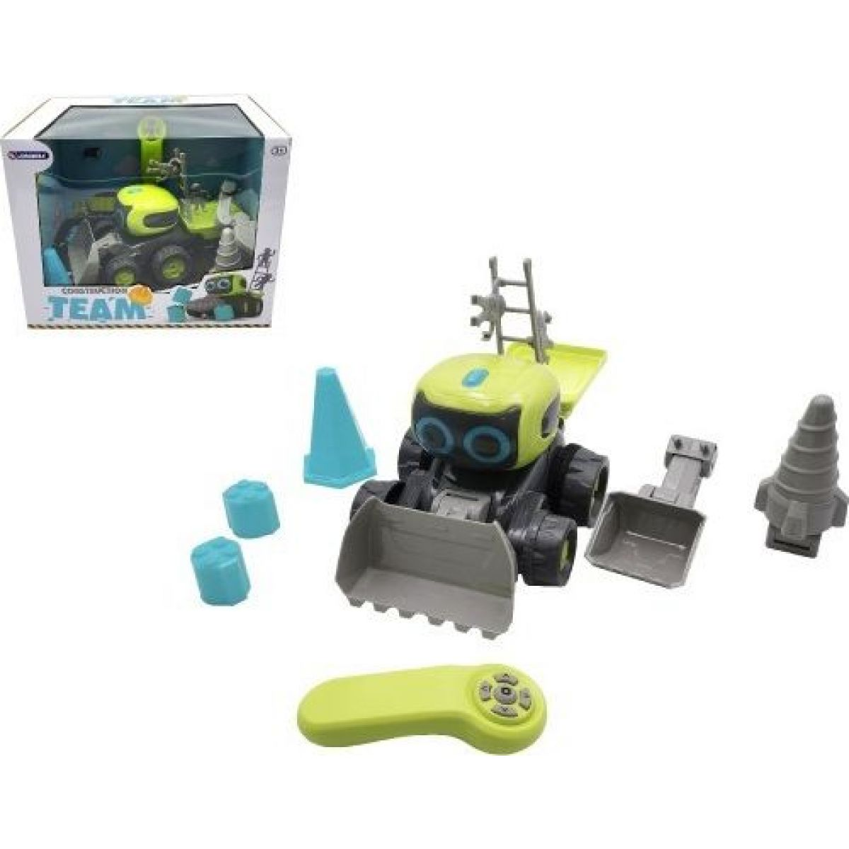 Auto Stavebný stroj RC plast 15 x 20 cm na batérie s doplnkami v krabici