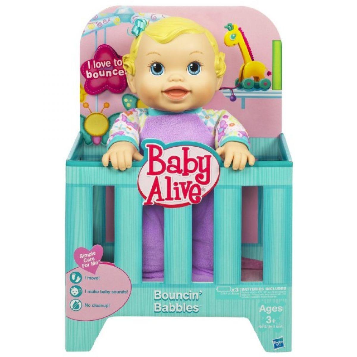 Hasbro 19411 - Baby Alive hopsající panenka - zelená postýlka
