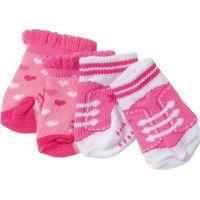 Baby Born Ponožky 2 páry Růžové se srdíčky a růžové s tkaničkami