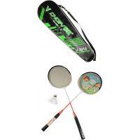 Badmintonová souprava 2 pálky a košíček v pouzdře zeleno-černé pouzdro