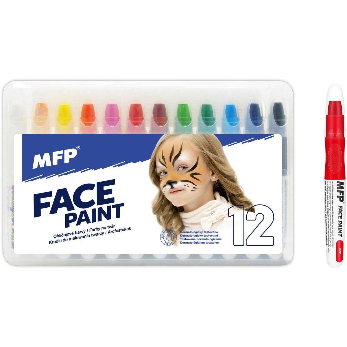 Farby na tvár a telo 12 ks v krabičke