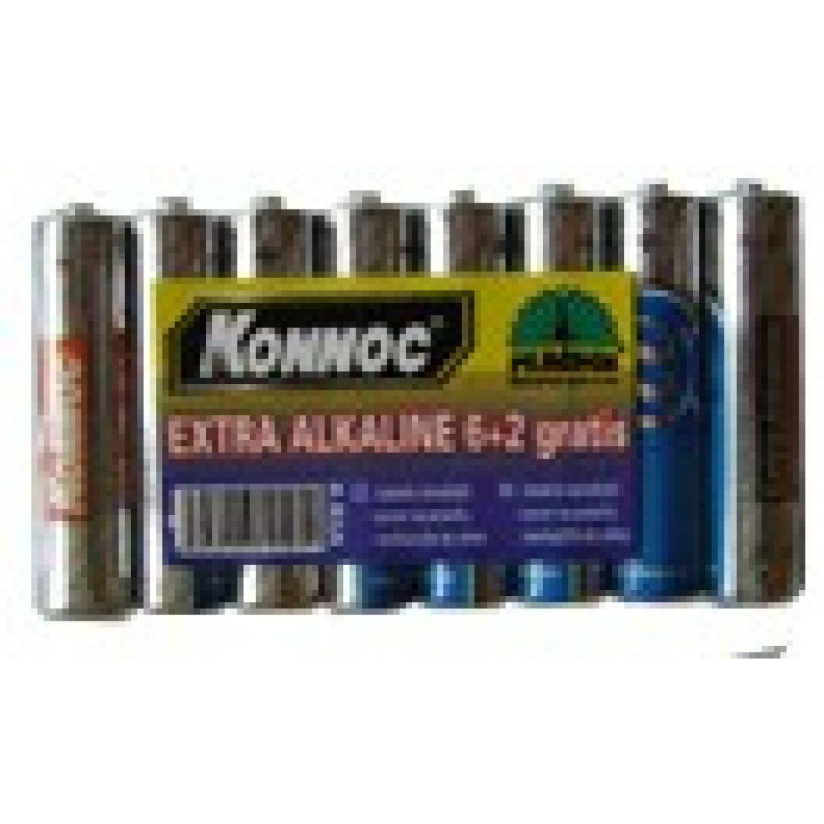 Baterie AA alkalické tužkové 6+2 zdarma