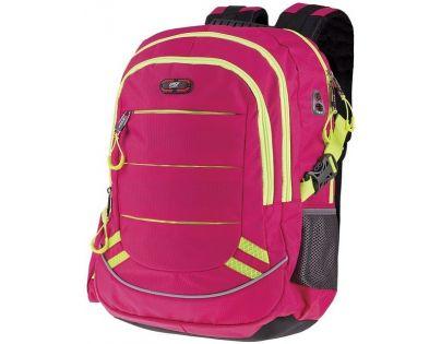 Easyoffice Batoh školní sportovní Růžový podklad se žlutým lemem