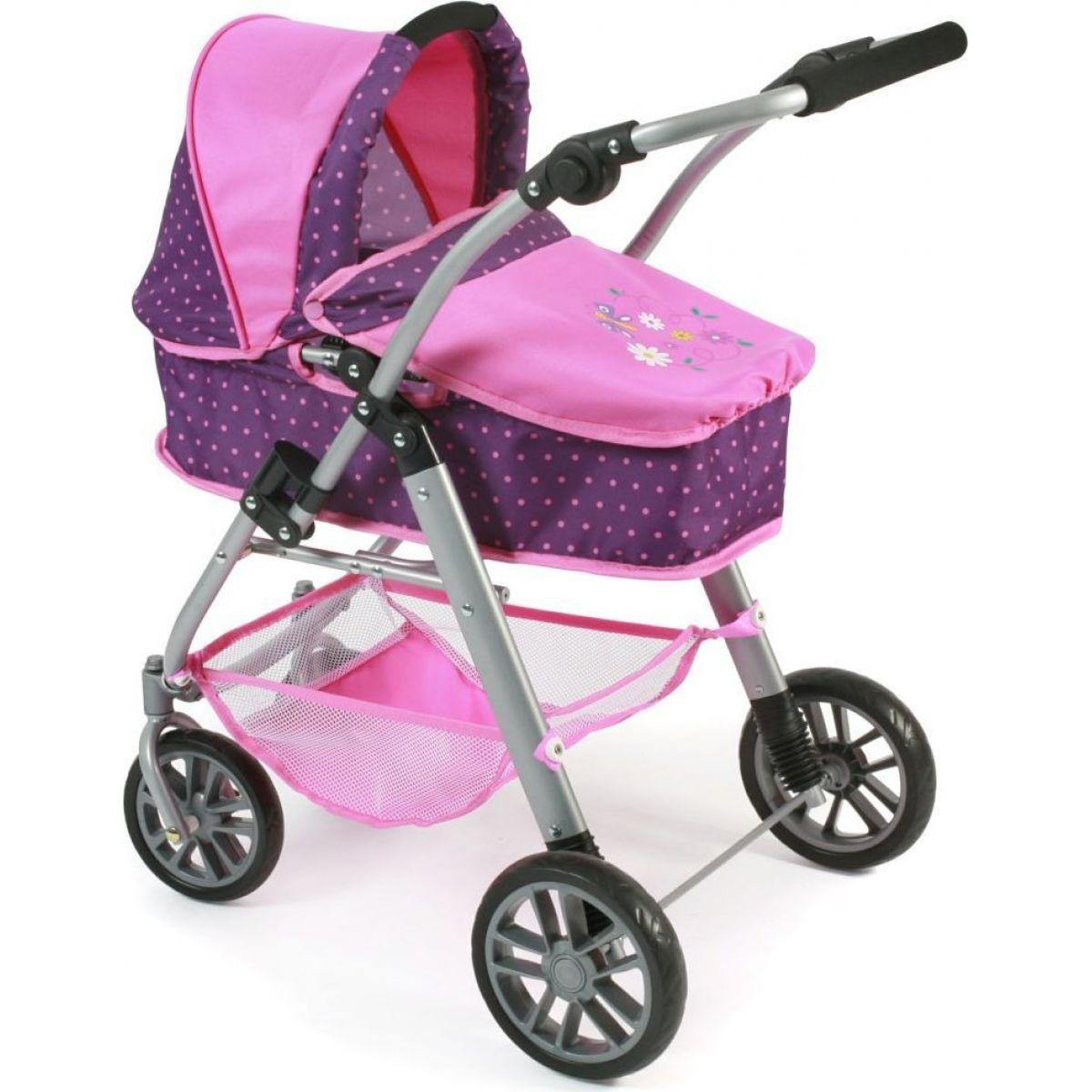 Bayer Chic Kočárek pro panenky Emilia - Dots purple pink
