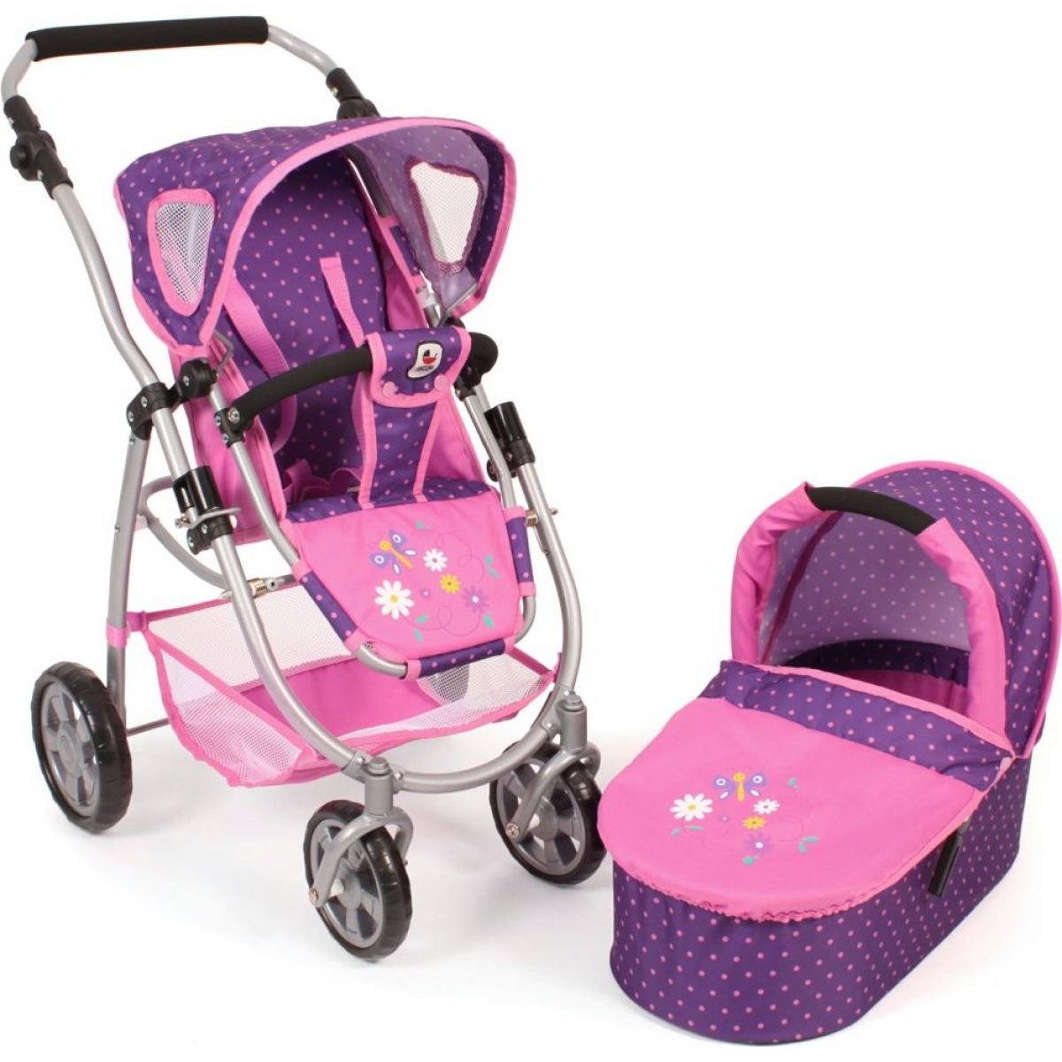 Bayer Chic Kočárek pro panenky Emotion 2v1 - Dots purple pink