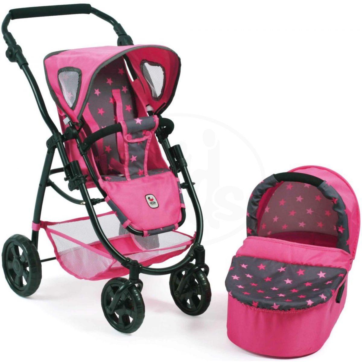 Bayer Chic Kočárek pro panenky Emotion 2v1 - Hvězdičky růžové