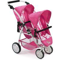 Bayer Chic Kočárek pro panenky Vario - Hvězdičky růžové - bílý podklad