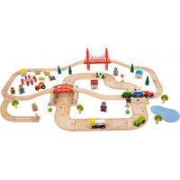 Bigjigs Rail Drevená vláčkodráha s vidieckou cestou 80 dielov