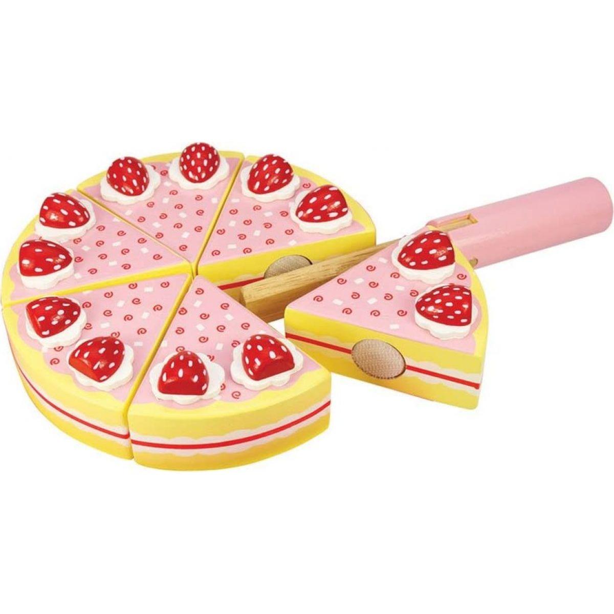 Bigjigs Toys Dřevěný krájecí dort s jahodami