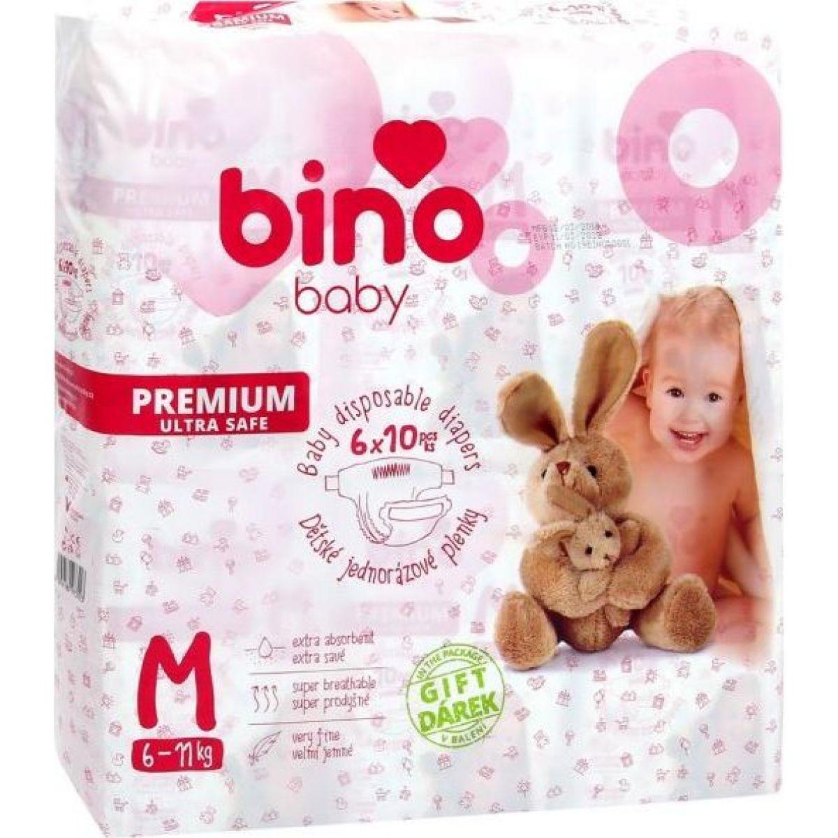 Bino Baby Premium Plienky veľ. M 6-11kg 6x10 ks s darčekom