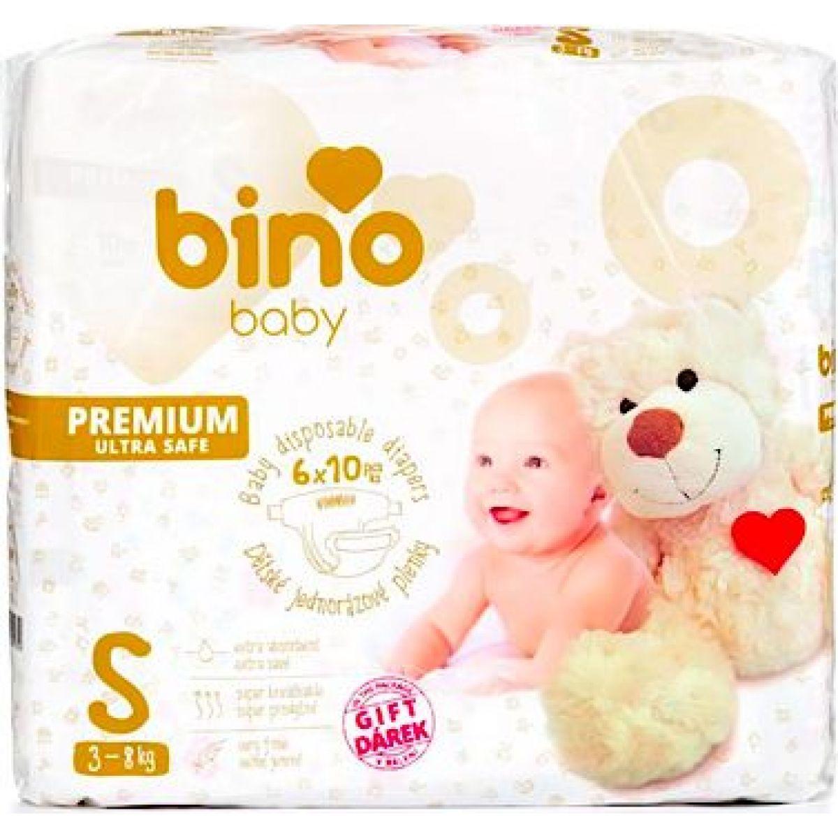 Bino Baby Premium Plienky veľ. S 3-8kg 6x10 ks s darčekom