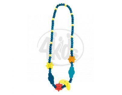 Bino Dřevěný náhrdelník Korále Měsíc