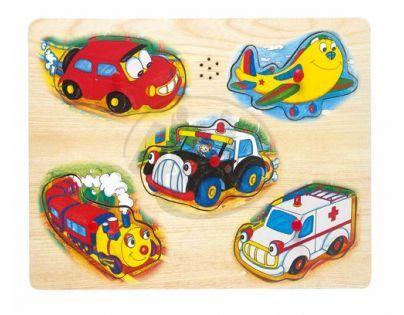 Bino 88083 - Hrací puzzle na desce - doprava - Brummi