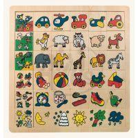 Bino 84079 - Dřevěná obrázková skládanka - poznej co kam patří