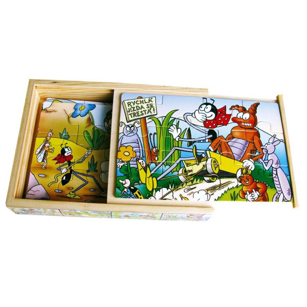 Bino 13007 - Dřevěné puzzle Ferda Mravenec (4 x 12 dílků)