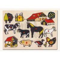 Bino 88113- Dřevěné Puzzle - domácí zvířata u statku