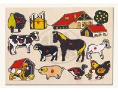 Bino Dřevěné Puzzle Domácí zvířata u statku