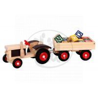 Bino 82077 - Traktor s gumovými koly a vlečkou ABC
