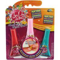 Bo-Po Sada 3 voňavé laky na nehty červená, světle růžová a tmavě tyrkysová