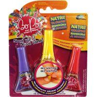 Bo-Po Sada 3 voňavé laky na nehty fialová, žlutá a červená