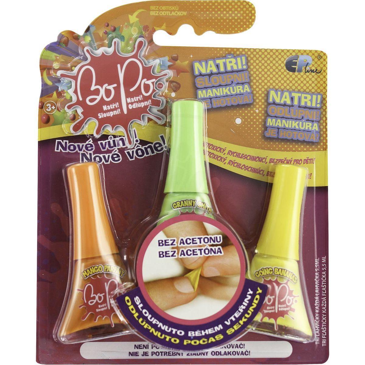 Bo-Po Sada 3 voňavé laky na nehty oranžová, světle zelená a žlutá