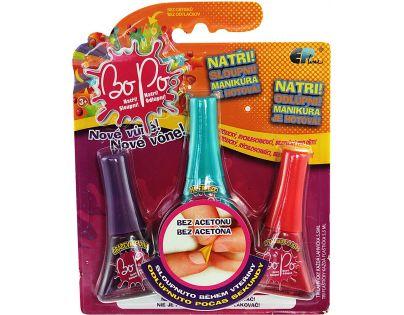 Bo-Po Sada 3 voňavé laky na nehty tmavě fialová, tmavě zelená a červená