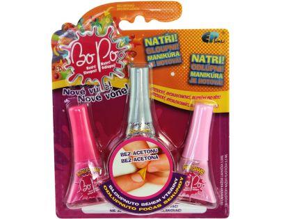 Bo-Po Sada 3 voňavé laky na nehty tmavě růžová, šedá a světle růžová