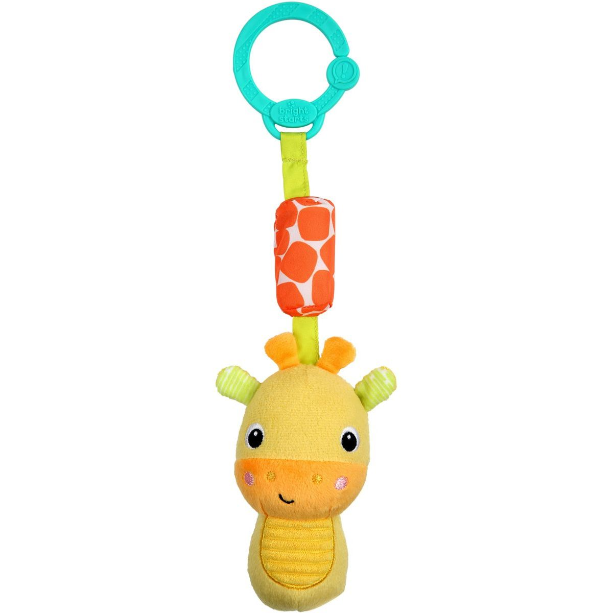 Bright Starts Hračka plyšová chrastítko na C kroužku Chime Along Friends žirafa