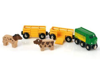 Brio 33404 - Zemědělský vlak pro přepravu zvířat se 2 vagónky, krávou, koněm