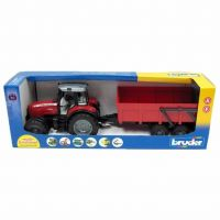 Bruder Traktor 2045 MASSEY FERGUSON + sklopné vozidlo červené 5