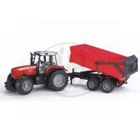 BRUDER 02045 - Traktor Massey Ferguson 7480 a vlek