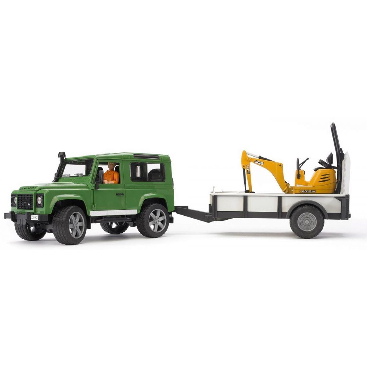Bruder 02593 Land Rover+Přepravník+Mikrobagr JCB