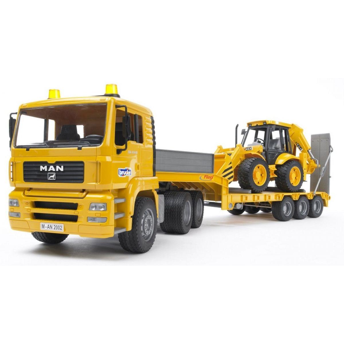 BRUDER 2776 - Nákladní auto MAN - Návěs + Traktor JCB Bruder