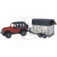 BRUDER 02921 - Jeep s přívěsem na přepravu zvířat