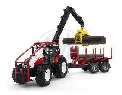 Bruder 03093 Steyr CVT 6230 Lesní traktor s přívěsem