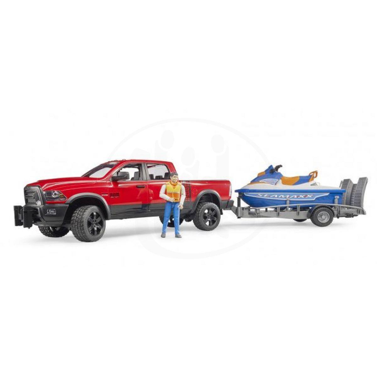 Bruder 2503 Auto RAM s přívěsem, vodním skútrem a figurkou
