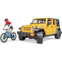 Bruder 2543 Jeep Wrangler Rubicon s horským kolem a cyklistou