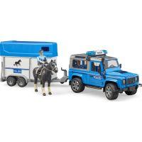 Bruder Land Rover Defender Policejní s přívěsem, koněm a policistou