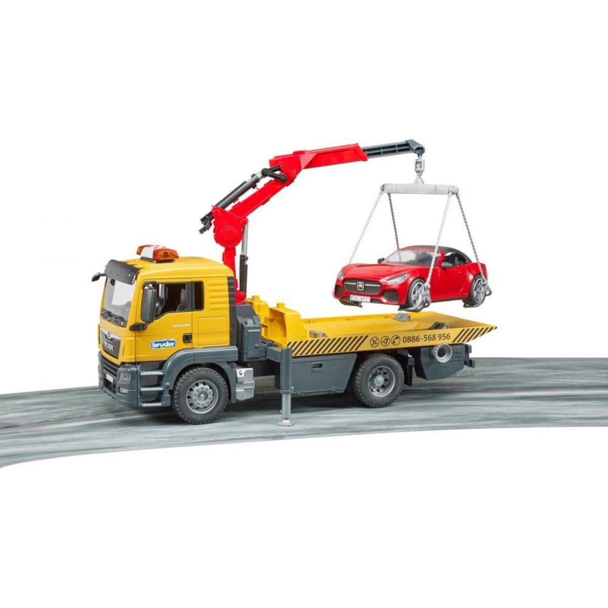 Bruder 3750 MAN TGS odtahová služba + roadster - Poškozený obal