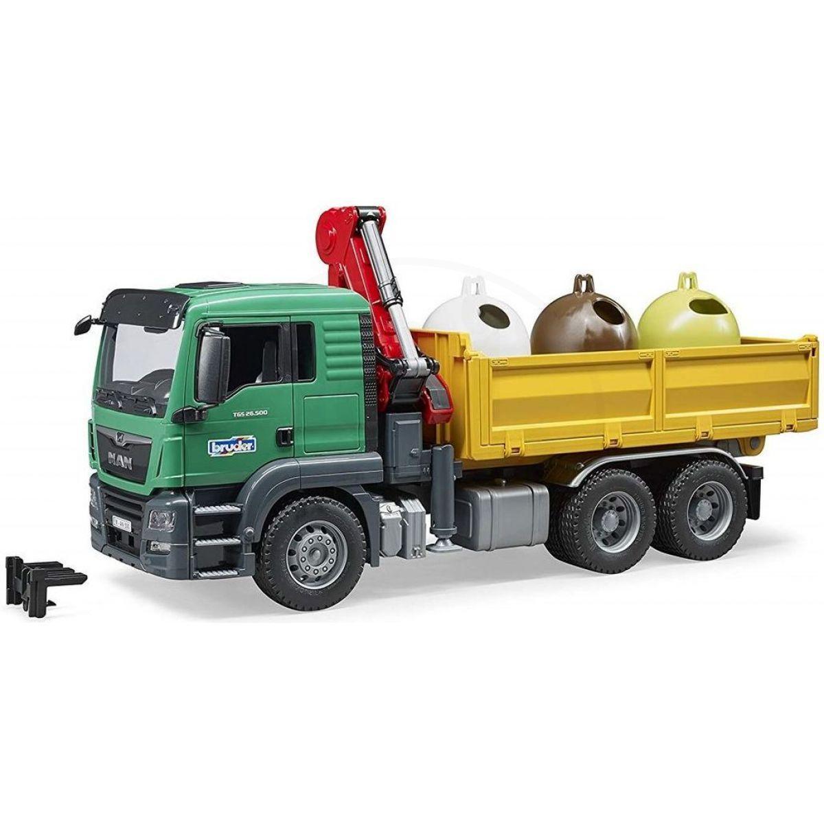 Bruder 3753 MAN TGS Truck se 3 kontejnery na odpad a nakládacím ramenem