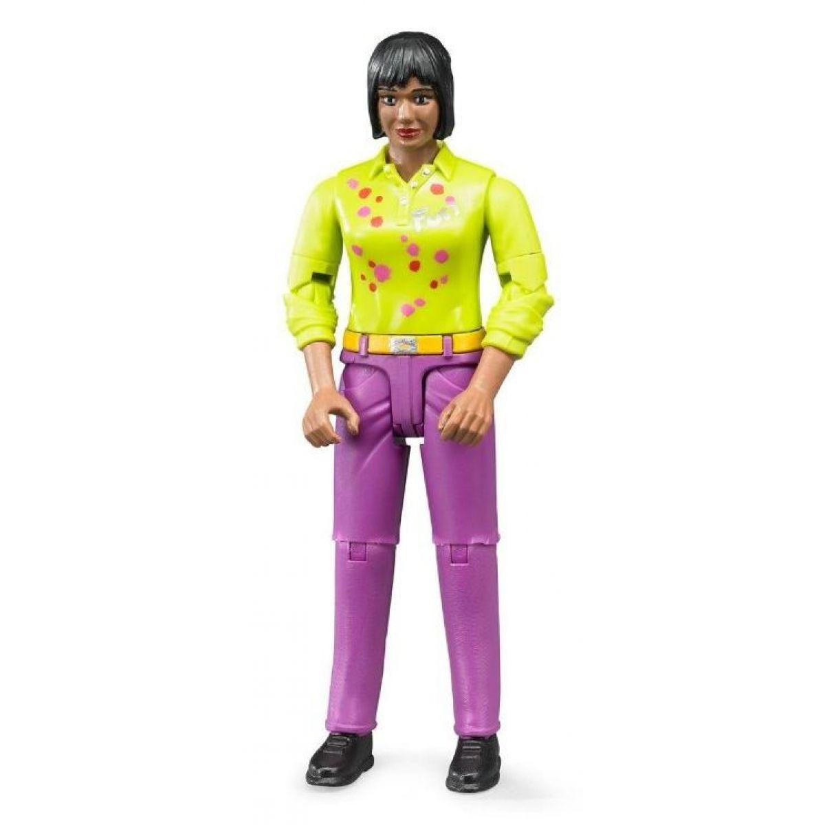Bruder 60403 Bworld Figurka Žena tmavé pleti tmavě růžové kalhoty