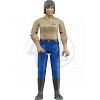 BRUDER 60406 - Žena - modré kalhoty, béžová košile