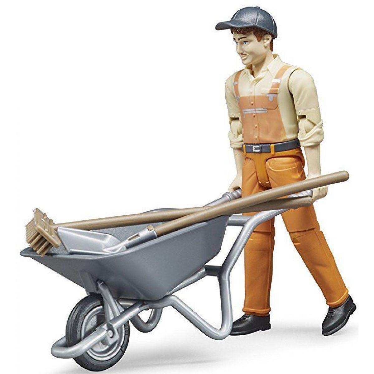 Bruder 62130 Figurka komunální pracovník s kolečkem a nářadím