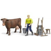 Bruder 62605 Zemědělský set Kráva s figurkou